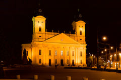 Reformed Great Church in Debrecen, Hungary. Reformed great church in night Stock Image