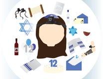 Reformuje Żydowską dziewczyny ikonę z tradycyjnymi nietoperza mitzvah elementami Zdjęcia Royalty Free