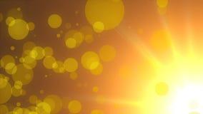 Refração da luz do sol morno - partículas dos raios, do céu e de voo, fundo abstrato moderno, gerado por computador, 3d filme