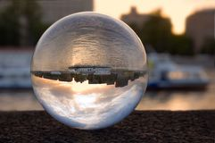 Refraction in the glass ball stock image