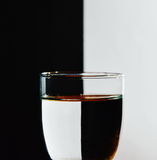 Refraction on glass water in black and white background Royalty Free Stock Image