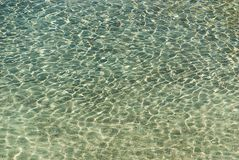 Refraction of light in clear water with small waves. Background Stock Photos