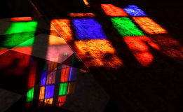 Refraction of stained glass. In church royalty free stock image