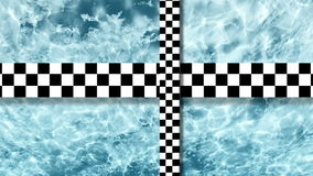 Refraction of sunlight in lake water with two moving checkered plane made in lumion stock video footage