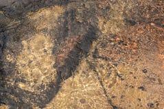 Refraktion av ljus i klart vatten med små vågor Bakgrund arkivbilder
