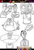 Refranes de la historieta fijados para el libro de colorear stock de ilustración