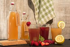 Refreschment with juice komboucha and ice royalty free stock photo