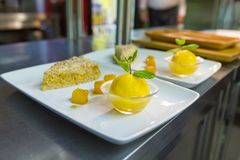 Refresco del pastel de calabaza y del limón fotos de archivo libres de regalías