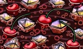 Refresco do marrom escuro com hortelã e frutos Imagens de Stock