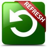 Refresh转动箭头象绿色正方形按钮 免版税图库摄影