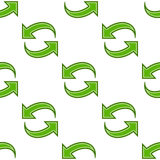 Refresh Arrows Flat Icon Seamless Pattern. A seamless pattern with green refresh arrows flat icon, isolated on white background. Useful also as design element Stock Photos