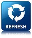 Refresh blue square button Royalty Free Stock Image