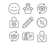 Refresh cart, Discount and Package location icons. Pencil, Identification card and Return parcel signs. Royalty Free Stock Photos