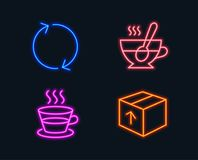 Refresh, Coffee cup and Tea cup icons. Package sign. Rotation, Tea mug, Coffee with spoon. Delivery pack. Neon lights. Set of Refresh, Coffee cup and Tea cup Royalty Free Stock Photos
