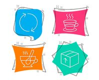 Refresh, Coffee cup and Tea cup icons. Package sign. Rotation, Tea mug, Coffee with spoon. Delivery pack. Set of Refresh, Coffee cup and Tea cup icons. Package stock illustration