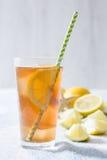 Refresh Ice tea with lemon on summer towel Stock Image
