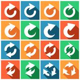 Refresh icons. Set of flat colored simple web icons (repeat, refresh, reload, redo, arrows),  illustration Stock Photo