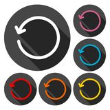 Refresh icons set with long shadow Royalty Free Stock Image