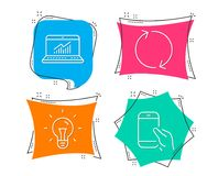 Refresh, Online statistics and Idea icons. Hold smartphone sign. Rotation, Computer data, Light bulb. Set of Refresh, Online statistics and Idea icons. Hold Stock Photography