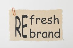 Refresh or Rebrand Concept. Refresh or Rebrand written on old torn paper with paperclip stock photo