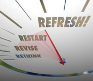 Refresh Rethink Revise Restart Speedometer Gauge Level. Refresh, Revise, Restart and Rethink words on white speedometer measuring the relaunch of your product Royalty Free Stock Image