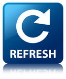 Refresh (rotate arrow icon) blue square button Royalty Free Stock Images