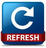 Refresh (rotate arrow icon) blue square button red ribbon in mid Stock Photography