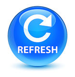 Refresh (rotate arrow icon) glassy cyan blue round button Stock Photo