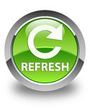 Refresh (rotate arrow icon) glossy green round button Stock Images