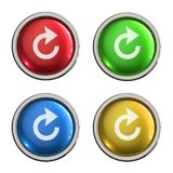 Refresh icon glass button. Refresh round shiny 4 color web icons with metal frame,3d rendered isolated on white background Royalty Free Stock Photo