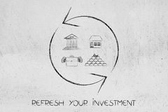 Refresh symbol with different investment icons Stock Photo