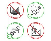 Refresh website, Statistics and Airplane icons set. Smile sign. Update internet, Financial report, Plane. Vector. Do or Stop. Refresh website, Statistics and royalty free illustration