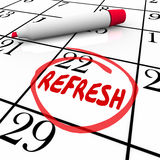 Refresh Word Circled Calendar Day Date Restart Product Business. Refresh word circled on a calendar day or date to illustrate a reminder to relaunch, restart or Stock Photography