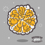Refresh Your Creativity. Human Brain View Combined With A Sliced Royalty Free Stock Photos