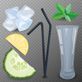 Refreshig drink ingredients vector illustration. Stock Photography