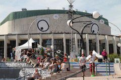 Refreshing. People refresh themselves in public fountain before Just for Laught Festival shows, Montreal Stock Images