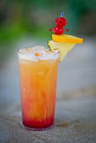 Refreshing alcoholic tropical cocktail Mai Tai. In the summer time Royalty Free Stock Photos