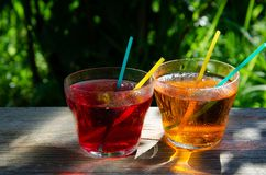 Refreshing Apple and Cherry Juice royalty free stock photos