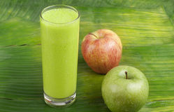 Refreshing apple smoothie milk shake Stock Images