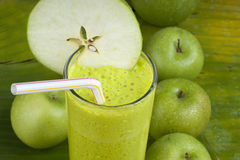 Refreshing apple smoothie milk shake Stock Image