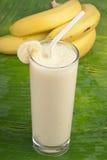 Refreshing banana smoothie milk shake stock photo