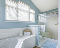 Refreshing bathroom interior in light blue tone. Refreshing bathroom interior with vaulted ceiling, glass door shower and white bath tub with tile trim Stock Image