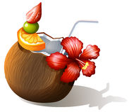 A refreshing beach drink Royalty Free Stock Photography