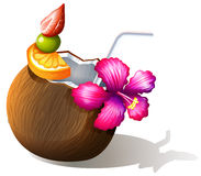 A refreshing beach drink. Illustration of a refreshing beach drink on a white background Royalty Free Stock Image