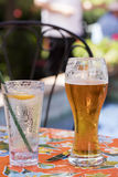 Refreshing Beer and a Local Restaurant Royalty Free Stock Image