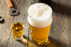 Refreshing Beer and Whiskey Shot Boilermaker. Cocktail Drink Stock Photos