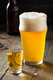 Refreshing Beer and Whiskey Shot Boilermaker Royalty Free Stock Photos