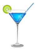 Refreshing blue cocktail. Blue cocktail with kiwi and ice cubes on white background royalty free illustration