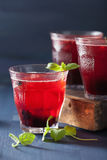 Refreshing blueberry drink with lime and mint Royalty Free Stock Photography