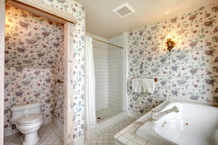 Refreshing bright floral bathroom Royalty Free Stock Photography